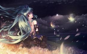 Picture the sky, girl, stars, clouds, night, the moon, lighthouse, anime, art, vocaloid, hatsune miku, nishiro …