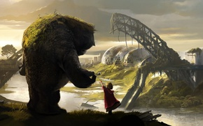 Wallpaper girl, hill, 1920x1080, drawing, view, fiction, monster, landscape, fantasy