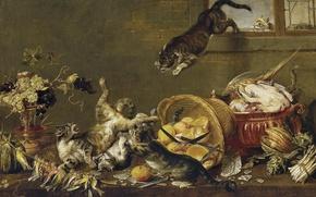 Wallpaper cats, bird, basket, cats, fight, fruit, knives, vegetables, Flemish painting, XVII century
