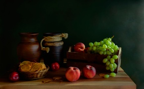 Wallpaper still life, peaches, table, grapes, pitcher