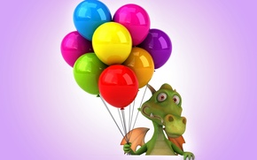 Wallpaper balls, dragon, colorful, dragon, funny, balloons