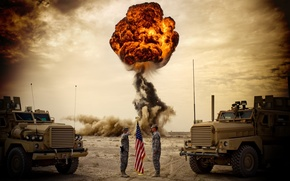 Picture the sky, the explosion, flag, soldiers, Trucks, USA