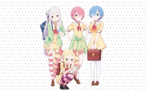 Picture anime, art, Emilia, Ram, Beatrice, Rem, Puck, Re: Zero kara hajime chip isek or Seikatsu