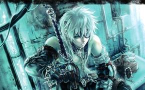 Wallpaper ring, sword, anime, warrior, chain, skull, meditation