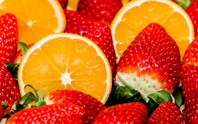 Picture berries, orange, strawberry