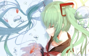 Picture girl, smile, fish, anime, art, vocaloid, hatsune miku, bottle miku, hews