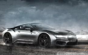 Picture rain, BMW, in motion, render, rechange, bmw i8