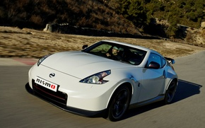 Picture white, Nissan, car, front view, 370Z, Nismo