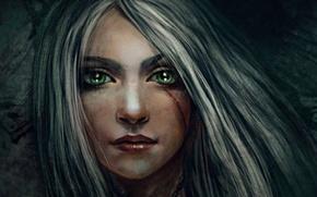 Picture art, face, Cirilla Fiona Elen Riannon, Ciri, CRIS, girl, character cycle, the Witcher, Cirilla Fiona …