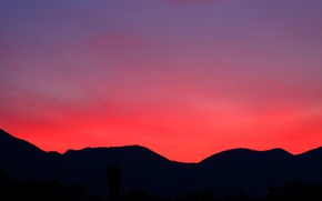 Picture lights, twilight, hill, dusk, silhouettes
