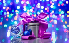 Wallpaper box, gift, tape, bokeh, Christmas toy