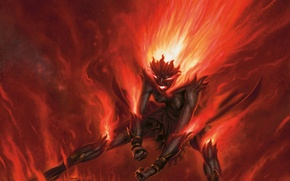 Picture anger, fire, flame, power, the demon, rage, blow, fist, Chandra, magic the gethering