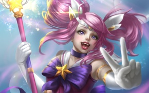 Picture girl, hand, rod, gesture, League of Legends, pink hair, Star Guardian Lux