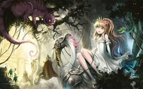 Picture cat, girl, trees, butterfly, snake, anime, art, frogs, Alice in Wonderland, alice, alice in wonderland, …