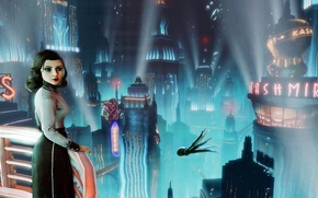 Picture look, girl, the city, symbol, DLC, 2K Games, Elizabeth, Irrational Games, Bioshock Infinite, Elizabeth, Booker …