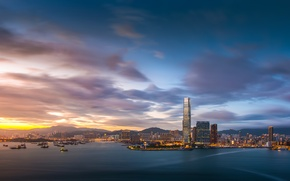 Picture the sky, clouds, sunset, lights, building, Hong Kong, the evening, port, Bay, megapolis, Hong Kong