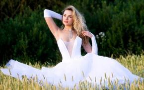 Wallpaper girl, hairstyle, white, dress, wedding