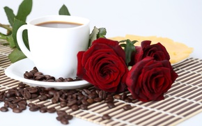 Picture coffee, roses, grain, cheese, plate, Cup, red, saucer