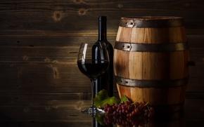 Picture wine, glass, grapes, barrel