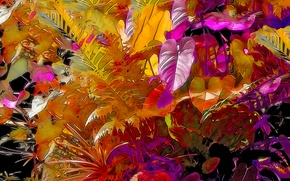 Picture forest, leaves, rendering, color, plants