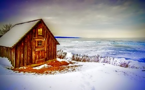 Picture ice, winter, the sky, clouds, snow, lake, house