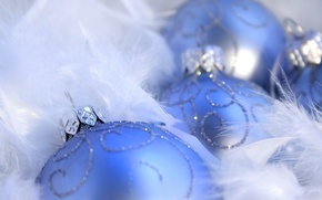 Picture macro, holiday, patterns, new year, blue, new year, macro, Christmas balls