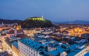 Picture night, lights, castle, mountain, home, Slovenia, Ljubljana