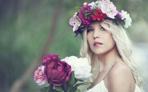 Picture flowers, portrait, bouquet, wreath, peonies, Nelly Lehtinen
