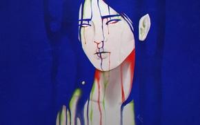 Wallpaper girl, face, background, paint, streaks
