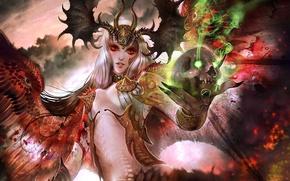 Picture girl, magic, skull, wings, art, red eyes, demoness