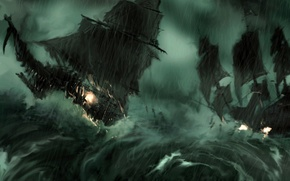Picture storm, fire, twilight, sails, pirates, shipwreck, the shower, torn, The flying Dutchman