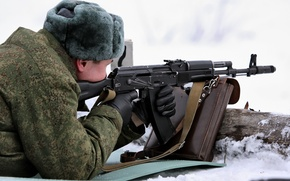 Picture snow, hat, soldiers, figure, gloves, bag, hat, Airborne, Paratrooper, AK-74M, The shooting range