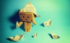 Wallpaper paper, box, danbo, boats