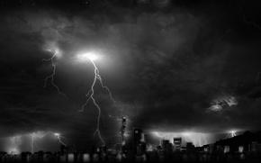 Wallpaper zipper, the storm, skyscrapers, light, night, Windows