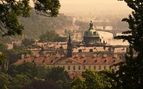 Picture bridge, river, Prague, Czech Republic