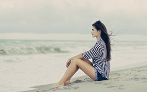 Wallpaper pose, the wind, beach, profile, sand, brunette, girl, sitting