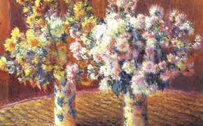 Wallpaper Two Vases with Chrysanthemums, flowers, still life, picture, Claude Monet