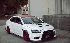 Wallpaper white, Mitsubishi, Lancer, xenon
