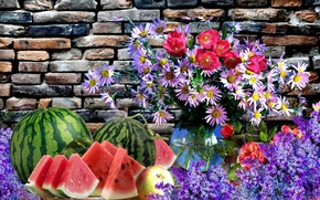 Picture flowers, watermelon, fruit, Still life
