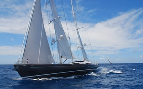 Picture ocean, ship, wind, sail, St-Barths, Hyperion-171