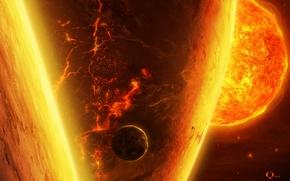 Wallpaper planet, QAuZ, art, satellite, cracked, the sun, star, lava, space, giant, fire