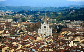 Picture trees, mountains, home, Italy, Florence, the Arno river, Basilica of Santa Croce