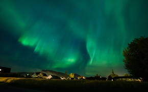 Picture the sky, stars, night, Northern lights, town, Aurora Borealis