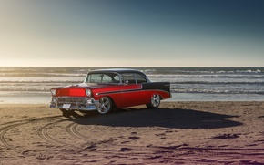 Picture Chevrolet, Car, Front, Bel Air, Sun, Water, Old, Summer, Sea, 1956
