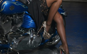 Picture girl, feet, stockings, motorcycle, shoes, girl, model, Yaryna