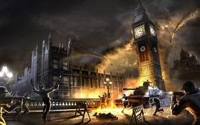 Picture BOTTLE, SHOOTOUT, CROSSES, The CITY, WAR, MACHINES, TANKS, SOLDIERS