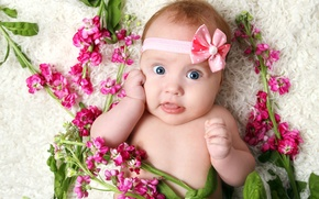 Picture flowers, smile, the game, child, girl, play, happy, smile, flowers, child, cute, cute, little girl, …