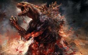 Picture blood, monster, Godzilla, Godzilla