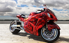 Picture HORIZON, The SKY, CLOUDS, RED, AIRBRUSHING, SPORTBIKE, TUNING, BASE