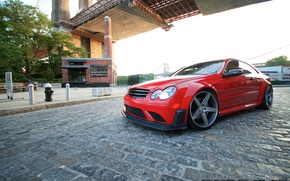 Picture bridge, street, Mercedes Benz, AMG, Black Series, Concave, CLK63